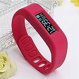 ELEGIANT OLED Bracelet Smart Bluetooth Sport Santé Montre Avec Podomètre Moniteur Sommeil COMPTEUR Calorie COURSE MARCHE + Chronomètre rouge