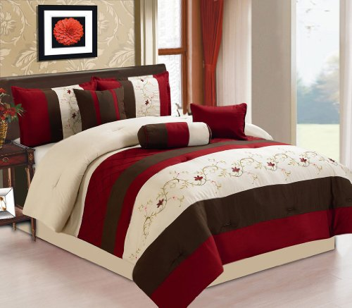 7 Piece Queen Baylee Floral Embroidered Comforter Set front-1012487