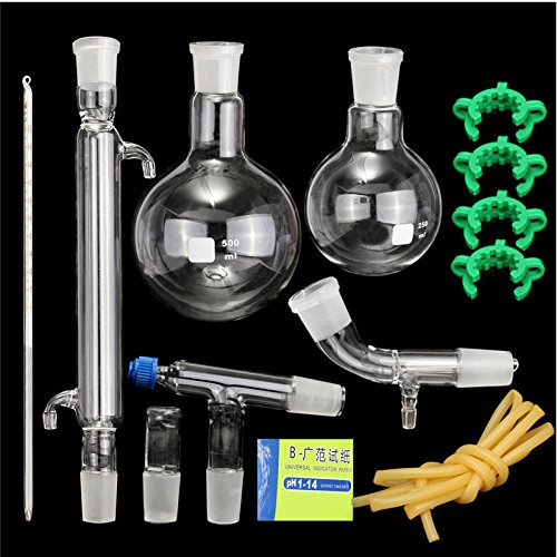 12 pcs Distillation Apparatus Laboratory Chemistry Glassware Kit Set With Joints 24/40 Borosilicate Glass 3.3 Round Bottom Flask (Klein Bottle Glass compare prices)