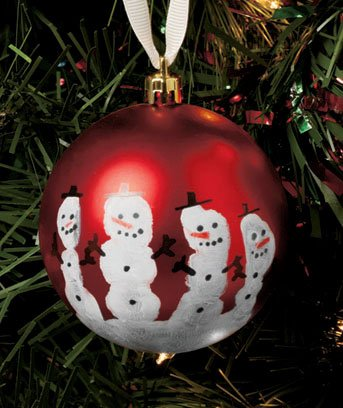 Snowmen Handprint Ornament Craft Kit - Great Gift for Grandparents, Teachers (Red)