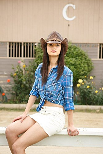 Western Seagrass Straw Cowboy Hat – Cute Vintage Cowgirl Hat w/ Flower 6