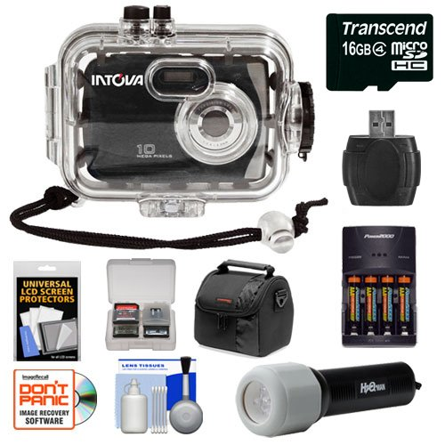 Intova Sport 10K Waterproof Digital Camera with 140' Underwater Housing + 16GB Card + Batteries & Charger + Case + LED Torch + Accessory Kit