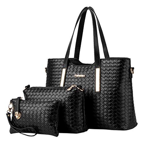 MissFox Fashion Da Donna Retro Handbag Shoulder Bag Tote Bag 3 Pezzi Nero