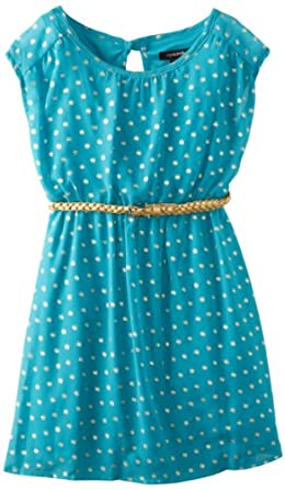 My Michelle Big Girls' Belted Chiffon Dress with Metallic Dots, Turquoise, 8