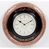 Home And Bazaar Traditional Rajasthani Wall Clock With Copper & Black Finish 12""