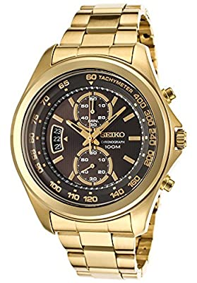 Click for Seiko Chronograph Black Dial Gold-Tone Stainless Steel Mens Watch SNN258