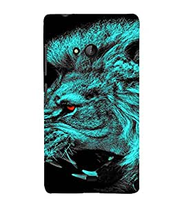 PrintVisa Neon Lion 3D Hard Polycarbonate Designer Back Case Cover for Nokia Lumia 540