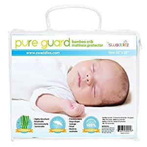 Crib Mattress Pad, Ultra Soft Bamboo Viscose, Waterproof, Fitted, Quilted, Premium Crib and Toddler Mattress Protector, High Absorbency and Breathability