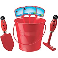 Kids Gardening Set With Rake Trowel And Plant Markers (Red Ladybug)