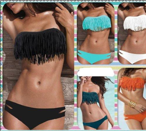 Zicac bikini da donna 2 pezzi imbottito top senza spalline colori: nero