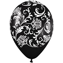 "11"" Damask Around Metallic Black (50/bag) Latex Balloons (50 per package)"