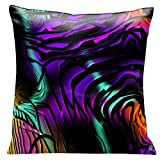 Lama Kasso Contempo Mystery at Midnight 1, Black Swirls Over Deep Purple, Orange and Green Satin 18-Inch Square Pillow, Design on Both Sides