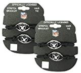Oakland Raiders - NFL Black Stretch Bracelets / Hair Ties (2-Pack) at Amazon.com