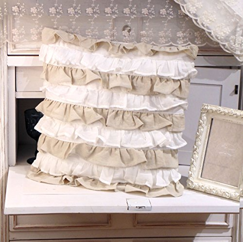Cuscino Arredo con Galette Shabby Chic New Fru Fru Collection Blanc Mariclo 45 x 45