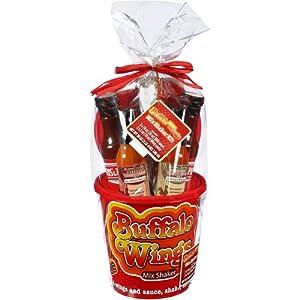 Buffalo Wings Mix Shaker Kit Gift Set - Hot Buttery Wing Sauce (5 oz); Honey Mustard Wing Sauce (5 oz); Original Bar-B-Q Sauce (14 oz); Hickory Bar-B-Q Sauce (14 oz); Bucket; Lid; Tongs.