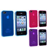 eForCity 3x Frost TPU Gel Rubber Skin Soft Cover Case Compatible with iPhone® 4 G 4S Pink+Purple+Blue