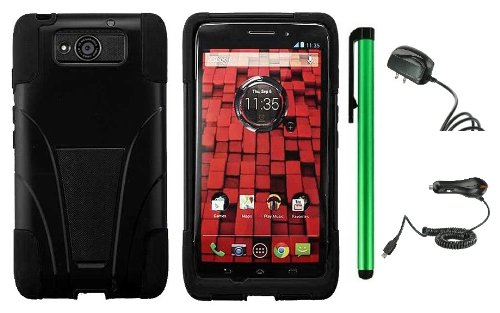 $$  Motorola DROID ULTRA MAXX XT1080M / Motorola Obake (Verizon) Accessory Combination - Premium Stand Protector Hard Cover Case + Travel (Wall) Charger & Car Charger + 1 of New Metal Stylus Touch Screen Pen (Black / Black)