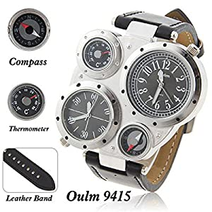 Oulm Multi-Function Watch For Men With Dual Movt Numerals Indicate Time Dial Black Genuine Leather