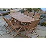 Aviemore 8 Seater Garden Set - Solid Teak 1.5m-2.1m / 5ft-6.5ft Oval Extending Table with Folding Chairs