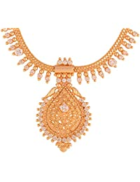 Ganapathy Gems 1Gram Gold Plated Kerala Design Necklace With White CZ Stones (8935)