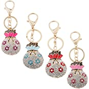 Magideal Rhinestone Crystal Plum Flower Money Bags Pendant Keyring Keychain Plum Red