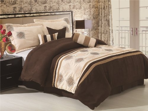 High Quality Soft Micro Suede With Embroidery Patch Work Comforter Set Bedding-In-A-Bag, Brown - Queen