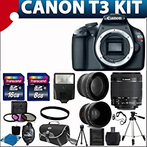 Canon EOS Rebel T3 12.2 MP CMOS Digital SLR with 18-55mm IS II Lens and EOS HD Movie Mode + 58mm 2x Professional Lens +High Definition 58mm Wide Angle Lens + Auto Flash + Lightweight 50