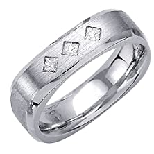 buy 0.21Ct Tdw White Diamonds 14K White Gold Top Flat Men'S Square Wedding Band (G-H, Si1-Si2)-(6Mm) Size-10