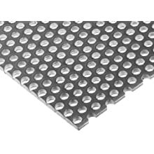"A36 Tool Steel Perforated Sheet, Unpolished (Mill) Finish, 0.12"" Thickness, 11 Gauge, 12"" Width, 36"" Length, Staggered Holes, 0.1875"" Center to Center"