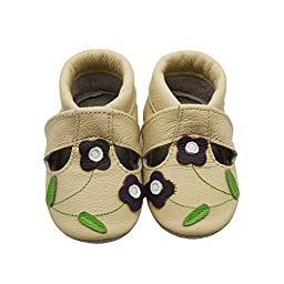 Sayoyo Soft Sole Leather Baby Shoes Baby Moccasins Purple Flowers(6-12 months,Beige)