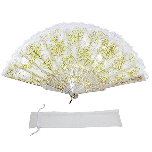 Newstarfactory Lace Flowers Design Plastic Folding Hand Held Fan with Exclusive Gift (White)