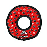 Tuffy Ultimates Ring Dog Toy, Red Paws