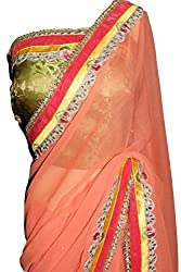 KC Indian Latest Saree Designer Chiffon with New Cut WorkBorder with Stone Blouse On Sale Price