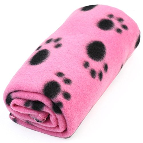 Winstory Soft Paw Print Small Pet Blanket Doggy Warm Bed Mat Cushion Pink for Dog Cat Puppy Kitten