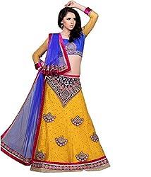 Manvaa Women Net Lehenga Choli(Yellow_ASTT105_Free Size)