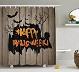 Scary Shower Curtain Decorations by Ambesonne, Happy Halloween Graffiti Style Lettering on Rustic Wooden Fence Scary Evil Effect Art, Polyester Fabric Bathroom Shower Curtain Set with Hooks, Multi