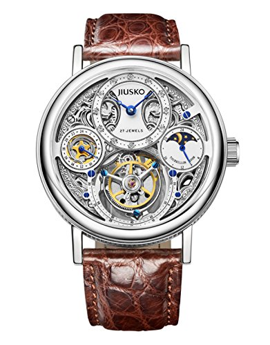 Jiusko Mens Diamond 27 Jewel Automatic Mechanical Tourbillon Moonphase Alligator Brown Leather Dress Watch