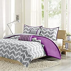 Intelligent Design ID10-622 Nadia Comforter Set Full/Queen Purple,Full/Queen