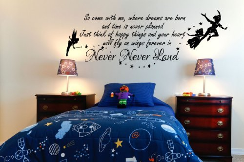 peter-pan-so-come-with-me-tinkerbell-childrens-wall-sticker-mural-kids-bedroom-100x55-black