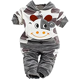 Unisex Baby Velour Cow Original Cuddle Coat for 1-3 Year 2 Pieces 3 Color (For  12 months, Gray)