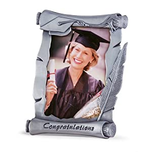 Gifts & Decor Graduation Pewter Finish Photo Picture Frame, 4 by 6-Inch