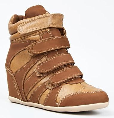 DANA-09 Urban Chic Street Casual Velcro High Top Wedge Heel Sneakers Shoe