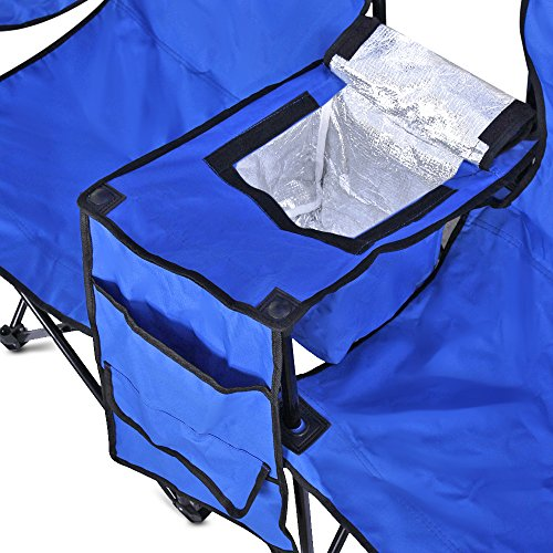 Double Folding Chair With Removable Umbrella Table Cooler