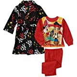 Disney Jake And The Never Land Pirates Boy 3 PC Bath Robe Pajama Set
