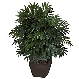 Nearly Natural 6718 Double Bamboo Palm with Planter Decorative Silk Plant, Green