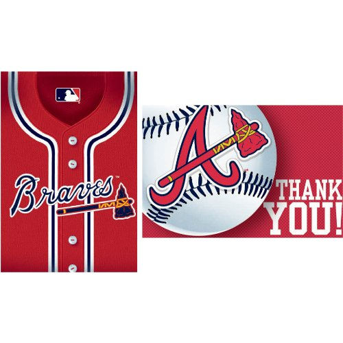 Amscan - Atlanta Braves Baseball - Invite and Thank-You Combo