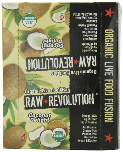 Raw Revolution Organic Live Food Bars, Coconut Delight, 1.8-Ounce Bars (Pack of 12)