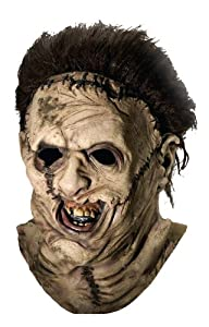 Texas Chainsaw Massacre Costume with Leather Face Deluxe Overhead Mask, Gray, One Size