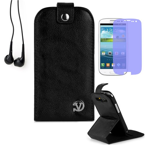 Reinforced Samsung Galaxy S3 I9300 Leather Case Cover With Stand - ( Vangoddy Repetto Black ) + Black Earbud Earphones + Custom Samsung Galaxy S3 Screen Protector