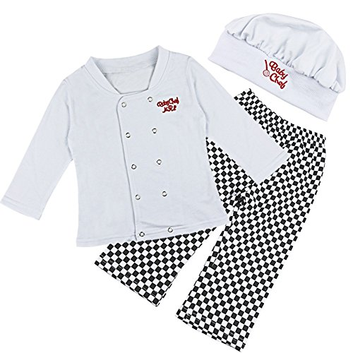 TIAOBU 3pcs Baby Boys Cook T-shirt Pants with Hat Photography Costume Outfits (12-18 Months, White, Black) (Baby Cook Outfit compare prices)